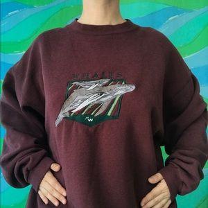 VINTAGE 90s WHALES crewneck sweatshirt